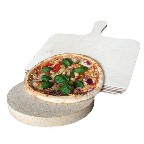 Set Pizzastein aus Schamotte, rund Ø 26 cm, Höhe 3cm mit Holz-Pizzaschaufel für Backofen, Grill, Kugelgrill