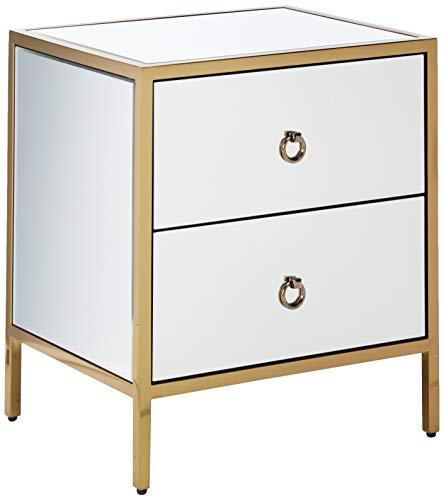 Christopher Knight Home Renee Glam 2 Drawer Cabinet, Mirror, Dark Gold