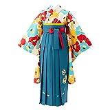 [京のみやび]ジュニア女の子着物袴セット 着物・袴・袴下帯・襦袢4点セット 水色 椿×マリンブルー刺繍