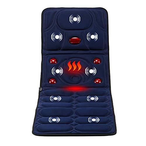 Knoijijuo Massagematte mit Wärme, 5 große Infrarot-Wärmelampen heißen Knetmassage, 8 Vibrationsmotoren Massage-Matratze Pad, Ganzkörper-Massage