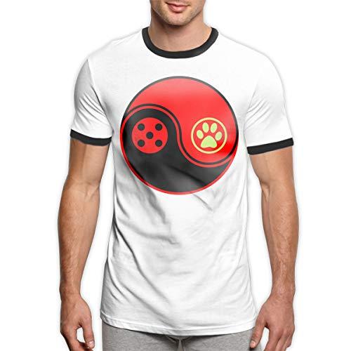 Patrick R Garrett Logotipo de Miraculous-Ladybug and Cat Noir Camiseta Camisetas Moda Hombre Camiseta Campana Camiseta de Manga Corta cómoda Top