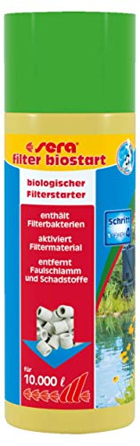 sera pond filter biostart 250 ml der Filterstarter Teich für 10.000 Liter für die sofortige biologische Aktivierung der Filtermedien & Filtermaterial mit Filterbakterien des Teichfilter im Gartenteich