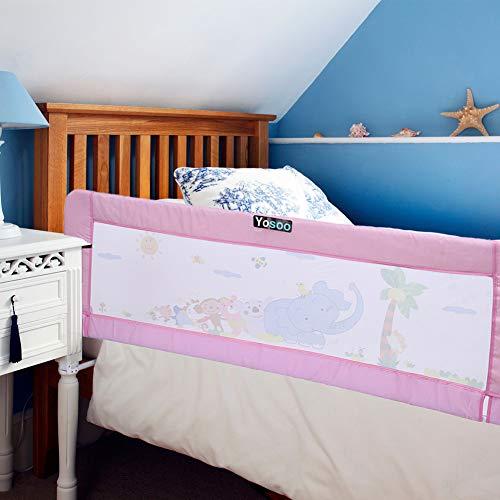 Bettgitter, Klappbares Babybettgitter Kinderbettgitter Bettschutzgitter Fallschutz (Rosa, 150 x 65 cm)