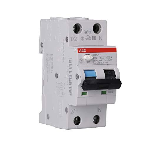 ABB DS201A-B16 DS201A-B16/0,03 FI/LS-Schalter 6kA, 1P+N, Typ A, B 16, 30mA, grau, 2 TE