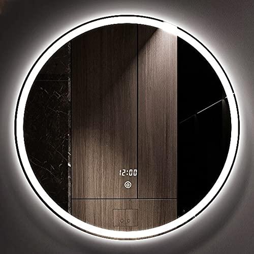 HHDD Espejo de Baño LED Espejo Decorativo Sin Marco de Pared Espejo de Tres Colores Luz Ajustable Espejo Plateado a Prueba de Explosiones Espejo Retroiluminado Redondo