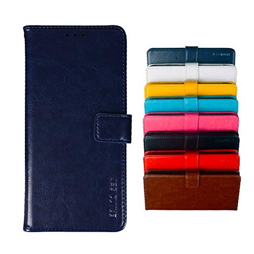 COVO® Hülle für Leagoo S8 PU Leder Brieftasche Hülle mit Stand Funktion & Magnetisch Schnalle Flip Handyhülle für Leagoo S8-Dunkelblau