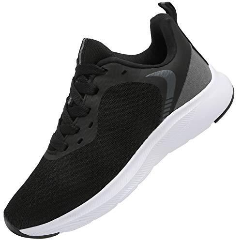 DAFENP Sportschuhe Turnschuhe Atmungsaktiv Laufschuhe Leichte Hallenschuhe Schnürer Gym Fitness Sneaker für Herren Damen XZ725-HalfBlack-EU43