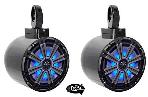 "(2) kicker KM8 8"" LED 360 Swivel Black Aluminum Wakeboard"