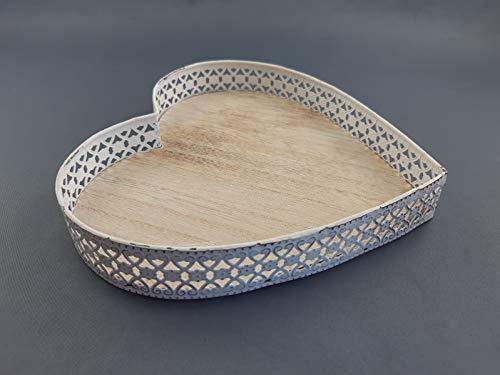 Florissima Bandeja con forma de corazón de madera y metal, estilo vintage...