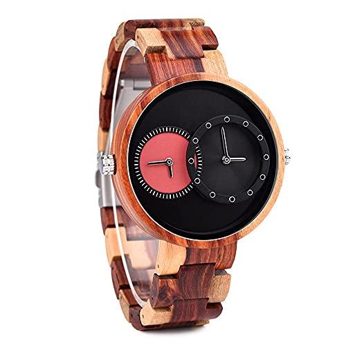 yuyan Moda Wood Watch Japanese Quartz Dual Movimiento GMT DIAL Tiempo Grande DIAL Y Relojes DE Mujeres DE LOS Estudiantes Cumpleaños