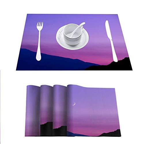 FloraGrantnan - Juego de 8 manteles individuales de cocina, mesa de comedor decorativa, Etna Vulcano, lavable fácil de limpiar, fácil de limpiar,