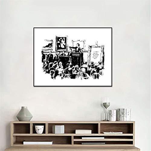nr Graffiti Auktionen Plakate und Drucke Wohnzimmer Wandkunst Dekoration Schwarz-Weiß Leinwand Gemälde Druck auf Leinwand50x70cm ungerahmt