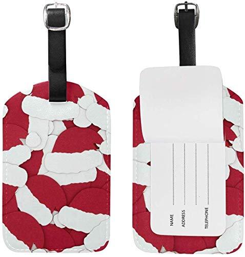 Rote weihnachtsmützen Reisen pu Leder gepäck gepäck Koffer Tags Label Set von 2