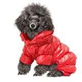 MeiLiMiYu Dog Puppy Winter Coats for Small Dogs,Waterproof Windproof Dog Jacket Warm Fleece Padded Pet Clothes for Chihuahua Teddy Poodles Pomeranian,Red XL