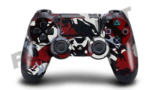 Playstation 4 (PS4) Controller/Gamepad Skin / Cover / Vinyl Wrap - Red & Black Camouflage Design (Pack of 2 Skins) by Cell Shell