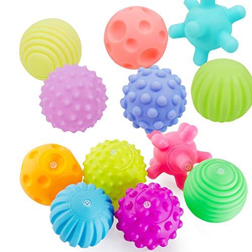 BOQIAN Juguetes con Sensor para bebés, Juego de Softball de Bolas con Sensor de plástico, Bola de Juguete para exploración sensorial temprana (12 Piezas)