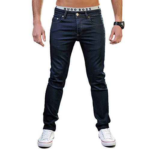 Gelverie Jeans Herren Slim Fit Jeanshose Stretch Designer Hose Denim I Dark Blue Denim, W42 / L32