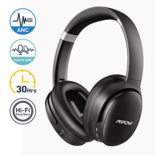 Mpow Hybrid Noise Cancelling Headphones, Hi-Fi Deep Bass Bluetooth Headphones Over Ear, Wireless Headphones with CVC 6.0 Mic, Soft Protein Earpads Headset for Home Office Online Class Cellphone PC TV
