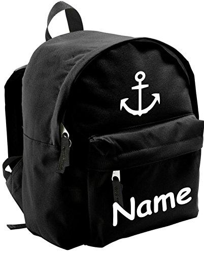 ShirtInStyle Kinder Rucksack Anker, Marine, mit Name veredelt, ideal für Kita, Farbe schwarz