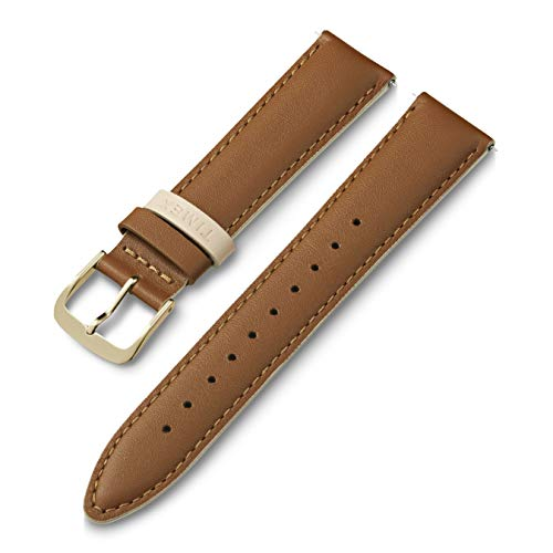 Timex 20mm Genuine Leather Strap – Gray with Rose Gold-Tone Buckle