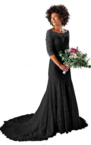 Gothic Black Lace Off the Shoulder Mermaid Wedding Dress