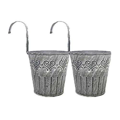 Hemoton 2 macetas de metal de hierro para colgar en la pared, maceta rústica con ganchos, balcones, jardín, plantas, cestas, macetas decorativas, para vallas, ventanas, terrazas, jardines, 4