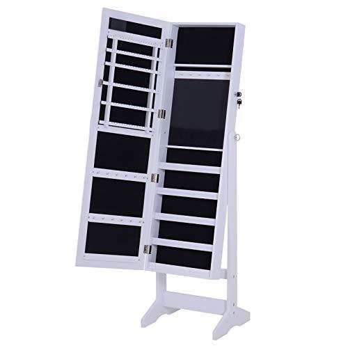 homcom Armadio Portagioielli Portagioie Specchio Regolabile 20 Luci LED, Legno, Bianco, 40x37x146 cm