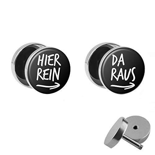 Treuheld® | Hier Rein/Da Raus - Fake Plugs im Set | Lustige Spruch Ohrstecker zum Schrauben | 10mm | Witzige Chirurgenstahl Ohrringe in Silber