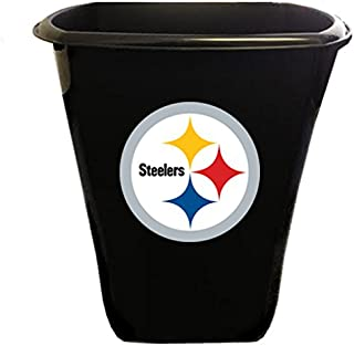 The Furniture Cove New Black Plastic 3 Gallon Trash Can Waste Basket Featuring Your Choice of Football Team Logo! (Steelers)