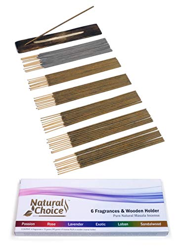 Natural Choice All Natural Traditional Set of Wood Incense Sticks plus Holder - 6 Fragrances