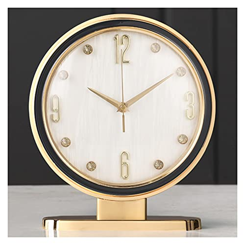 hkwshop Reloj de Escritorio Tabla Reloj Moderno Luz de Lujo Reloj de Lujo Sentado Reloj Sala de Estar Reloj Top Reloj Adornos de Escritorio Aleación Inicio Reloj de Mesa (Color : E)
