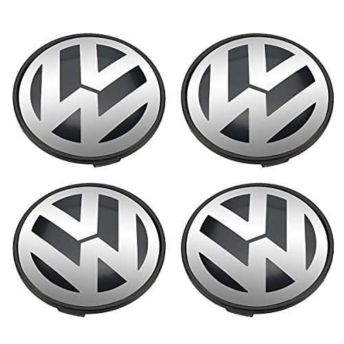 KGASYUI Tapas para tapacubos 4pcs 77mm Tapa del Centro del Centro de la Rueda Emblema Compatible con Volkswagen VW Touareg 2003-2010 7L6 601 149 RVC Tapas centrales para Llantas