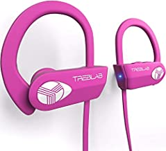 TREBLAB XR500 Bluetooth Headphones, Best Wireless Earbuds for Sports, Running Gym Workout. IPX7 Water Resistant, Sweatproof, Secure-Fit Headset. Noise Cancelling Earphones w/Mic Pink (Renewed)