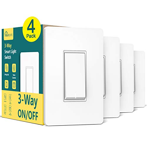 3-Way Smart Switch (Neutral Wire Required), Treatlife 2.4Ghz WiFi Light Switch 3-Way Switch Compatible with Alexa,and Google Assistant, Remote Control, ETL, Schedule, Neutral Wire Required (4 Pack)