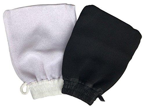 Guante de Kessa-Kessel (2 uds) Exfoliante Hammam con Jabón Negro de Exfoliación y Masaje Corporal - Destapa Poros Elimina Impurezas de la Piel. 1 Guante Capa Doble Duro y 1 Guante Capa Simple Suave