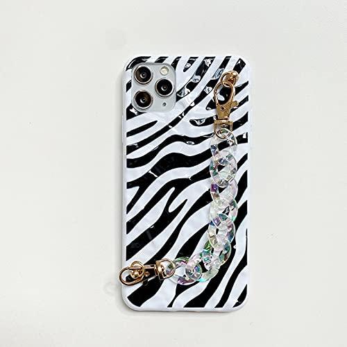 LIUYAWEI Estuches para teléfono con Pulsera con patrón de Cebra de Hoja de estaño para iPhone 12 11 Pro MAX 12mini X XS XR 7 8 Plus SE 2020 Funda Suave con Cadena, A con 1 Cadena, para iPhone 11 Pro