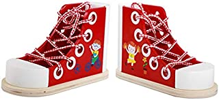 Oddalsail-US Safety Kids Wooden Toddler Lacing Shoe Tie Blocks Early Education Toys Red