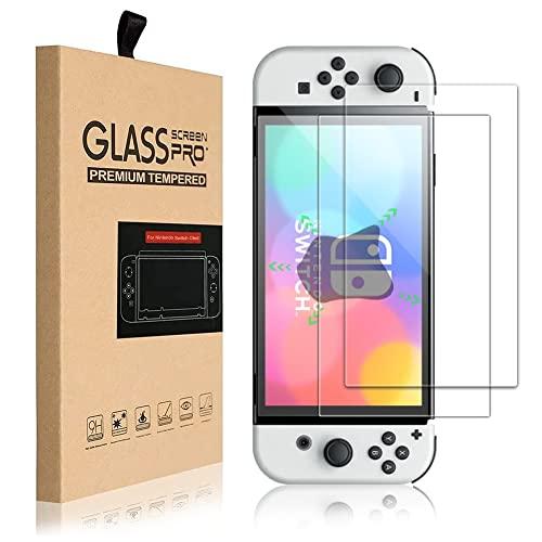 Protector Nintendo Switch OLED 2021, Cristal Switch Mica de Pantalla Vidrio Templado 9H Doble-Reforzado Dureza Screen Protector Film, 2 Unidades