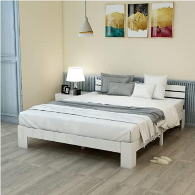 Weiß Bett, Holzbett mit Kopfteil mit Lattenrost - 200 x 140 cm Massivholz FSC Massiv Doppelbett als...