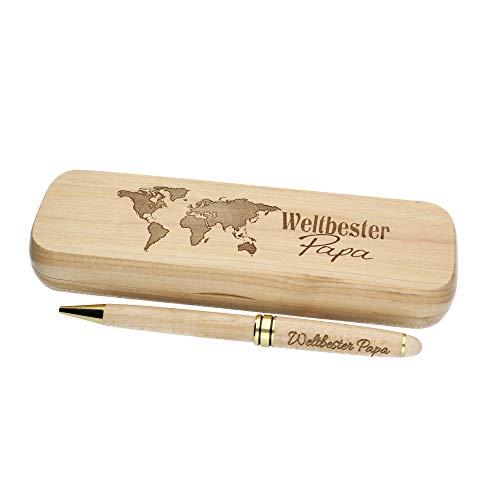 """Geschenk für Vater Kugelschreiber mit Gravur""""Weltbester Papa"""" aus Holz die Geschenkidee Stift graviert (Weltbester Papa)"""