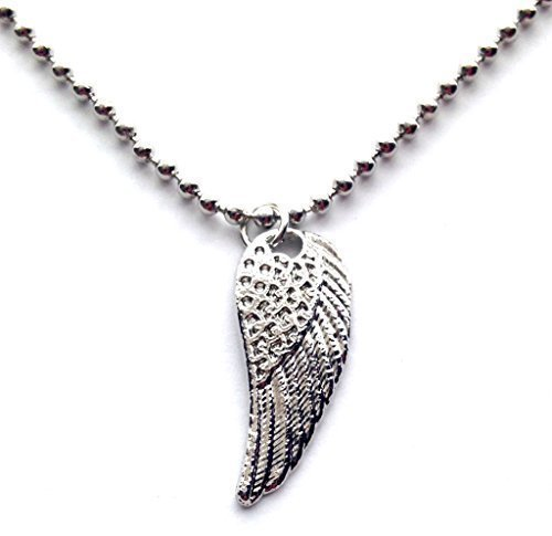 Live It Style It Angel Wing 15 inch Ball Chain Choker Charm Necklace Silver Retro Vintage Boho 80s 90s