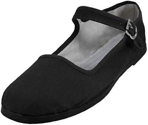 Shoes 18 Womens Cotton China Doll Mary Jane Shoes Ballerina Ballet Flats Shoes 11 Colors (11, 118 Black Micro Suede)