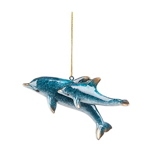 GALLERIE II Cozumel Mom & Baby Dolphin Sea Life Coastal Tropical Beach Blue Gift Christmas Resin Xmas Hanging Ornament Blue