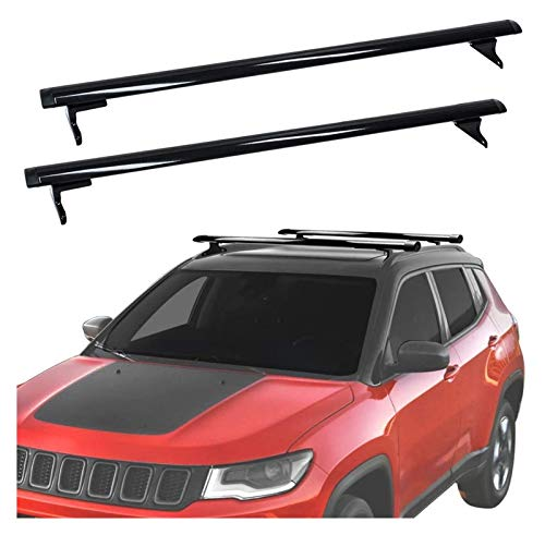 XIAOZHIWEN Coche de Aluminio Equipaje Transporte de Carga Techo de Equipaje Rail Barras de Techo Cross Bares Cross Fits para Jeep- Compass 2017-2020 (Color : Black)