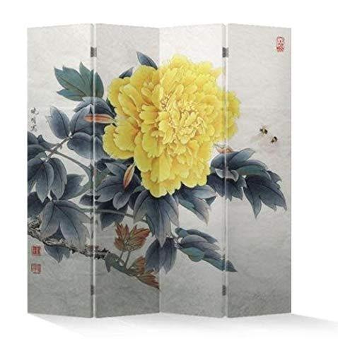 Fine Asianliving Paravent Raumteiler Trennwand Spanische Wand Raumtrenner Sichtschutz Japanisch Orientalisch Chinesisch L160xH180cm Bedruckte Canvas Leinwand Doppelseitig Asiatisch -203-154