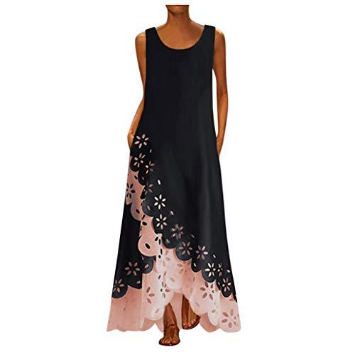 XOXSION Damen Bohemia Beach Maxi Kleid Floral Print Lässig Runden Hals ärmellose Lange Midi-Kleid