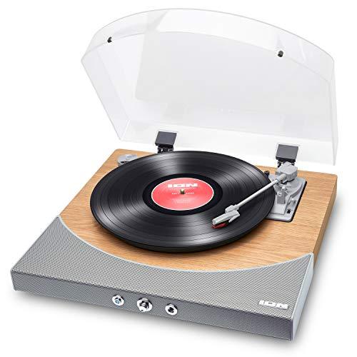 ION Audio Premier LP - Giradischi con Soundbar, Bluetooth, Uscite RCA, Presa Cuffie, Conversione USB e Velocità 33,45 e 78 giri - Finitura in Legno