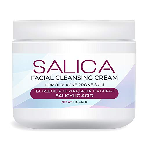 Salica | Acne Treatment Cream with Salicylic Acid & Tea Tree Oil, 2oz – For Acne Scar, Pimple, Cystic, Back Acne, Blackhead and more (1 pack)