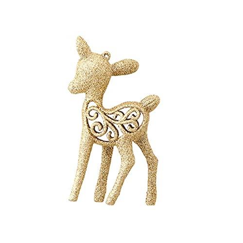 3pcs Christmas Small Deer Christmas Tree Decor Pendant Christmas Decoration for Home Festival (Gold)