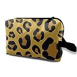 Pochette per trucco di grande capacità con stampa animalier Tiger Black Gold. Borsa per cosmetici. Organizer da viaggio